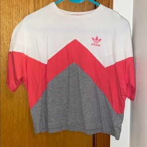Adidas white,gray,and pink cropped shirt,leggings